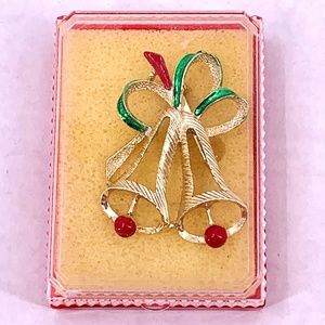 Vintage Boxed GERRYS Christmas Bells Pin Gold Tone